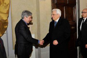 Marsili con il Presidente della Repubblica Sergio Mattarella durante la visita al Museo Casa Natale Giaocmo Puccini